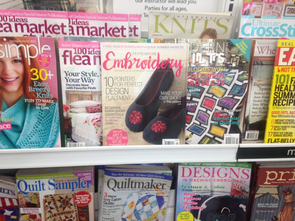 My shoes on the cover of Creative Machine Embroidery Magazine